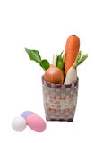 Fresh vegetables Raw Carrot,onion,radish in basket isolated on w Royalty Free Stock Image