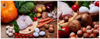 Fresh vegetables and raw meat on a sacking Royalty Free Stock Photos