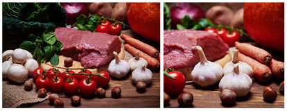 Fresh vegetables and raw meat on a sacking Stock Images