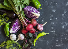 Fresh vegetables - red cabbage, beets, eggplant, peppers, garlic,  herbs on a dark background. Raw ingredients. Royalty Free Stock Photo