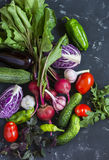 Fresh vegetables - red cabbage, beets, eggplant, peppers, garlic, tomatoes, herbs on a dark background. Raw ingredients. Royalty Free Stock Image