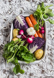 Fresh vegetables - red cabbage, radishes, carrots, potatoes, garlic, onions in a metal box on a light stone background. Healthy vegetarian, diet, detox food Royalty Free Stock Images