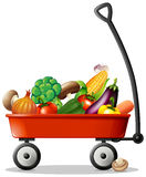 Fresh vegetables in red wagon Stock Image