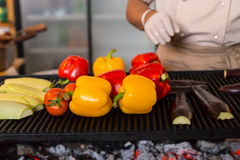 Fresh Vegetables Roasting Over Hot Grill Coals Stock Photo