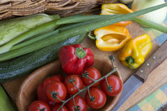Fresh vegetables in the rustic kitchen. Colorful, fresh vegetables in the rustic kitchen Stock Photo
