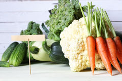 Fresh vegetables rustic wooden background Royalty Free Stock Images