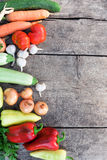 Fresh vegetables on rustic wooden background Stock Photography