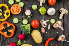 Fresh vegetables on rustic wooden table Stock Photography