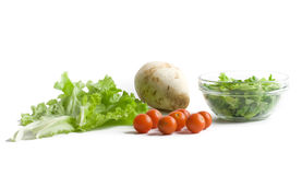 Fresh vegetables for salad. Over white background royalty free stock image