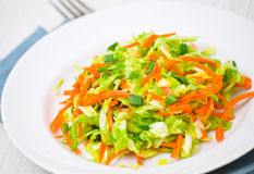 Fresh vegetables salad. With cabbage and carrot Royalty Free Stock Photo