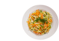 Fresh vegetables salad with cabbage and carrot. top view. isolated. On white Stock Photography