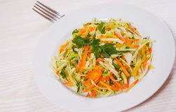 Fresh vegetables salad with cabbage and carrot. On white plate Stock Image