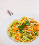 Fresh vegetables salad with cabbage and carrot. On white plate Stock Photos