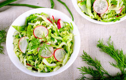 Fresh vegetables salad with cabbage, radishes. dill and greens. On white bowl Stock Photography