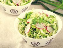 Fresh vegetables salad with cabbage, radishes. dill and greens. On white bowl Stock Photo