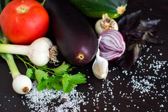 Fresh vegetables for salad and canning. Tomatoes, cucumber, onion, garlic, zucchini and spices Royalty Free Stock Photo