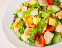 Fresh vegetables salad with chicken and cheese Royalty Free Stock Images