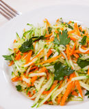 Fresh vegetables salad with cucumber and carrot. On white plate Royalty Free Stock Photos