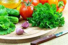 Fresh vegetables for the salad on a cutting board Royalty Free Stock Image