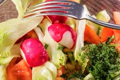 Fresh vegetables salad in a glass bowl Royalty Free Stock Image