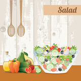 Fresh vegetables salad with olive oil Royalty Free Stock Photography