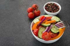 Fresh Vegetables Salad, Tomato, Pepper, Cucumber Stock Photography