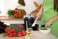 Fresh vegetables, salad and vegetable oil at the background of  woman is cooking by the stove in the kitchen Stock Images