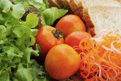 Fresh vegetables salad with whole wheat bread. Stock Photos