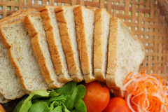 Fresh vegetables salad with whole wheat bread. Stock Photo
