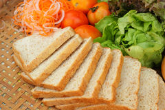 Fresh vegetables salad with whole wheat bread. Royalty Free Stock Photography