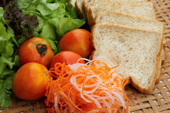 Fresh vegetables salad with whole wheat bread. Royalty Free Stock Photo