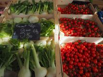 Fresh vegetables at the farmers market. Fresh vegetables on sale at the French farmers market Stock Images