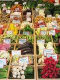 Fresh vegetables for sale on a market stall. Authentic vegetable market in Munich Germany stock image