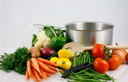 Fresh vegetables with saucepan  Stock Photo