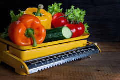 Fresh vegetables on a scale Royalty Free Stock Image