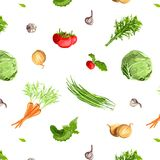 Fresh Vegetables Seamless Pattern Stock Photo