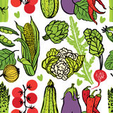 Fresh vegetables seamless pattern Stock Images