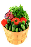 Fresh Vegetables and Seasonings in Bucket Basket. Stock Photos