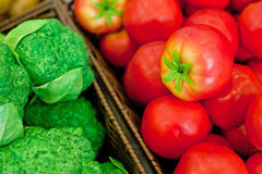 Fresh vegetables on the shelves, Stock Photo