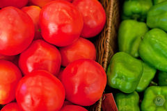 Fresh vegetables on the shelves, bell peppers Royalty Free Stock Images