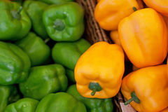 Fresh vegetables on the shelves, bell peppers Stock Image
