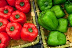 Fresh vegetables on the shelves, bell peppers Stock Images