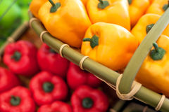 Fresh vegetables on the shelves, bell peppers Royalty Free Stock Photos