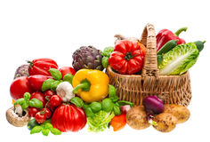Free Fresh Vegetables. Shopping Basket. Healthy Food Royalty Free Stock Image - 69371736