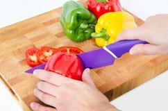 Fresh vegetables sliced on wooden boar Royalty Free Stock Image