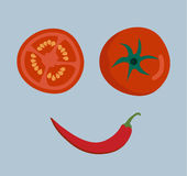 Fresh vegetables smile face on background Stock Images