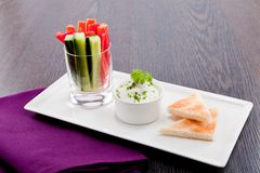 Fresh vegetables and cream cheese dip snack Royalty Free Stock Images