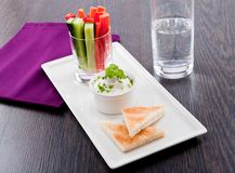 Fresh vegetables and cream cheese dip snack Stock Photo