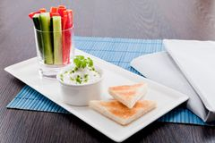 Fresh vegetables and cream cheese dip snack Royalty Free Stock Image