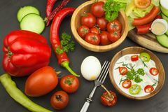 Fresh vegetables for snacks with dressing. Dip for vegetables. Healthy diet meal for dinner. Stock Photos